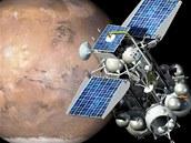 Ilustrace sondy Fobos-Grunt na oběžné dráze kolem Marsu. Samotný Phobos je