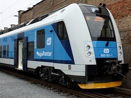 Prvn� vyroben� hlavov� v�z nov�ho �esk�ho vlaku nazvan�ho RegioPanter....