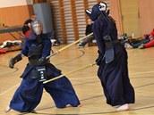 Bojovníci japonského umění kendo předvádějí bojové techniky na šermířském