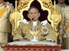 Thajský král Pchúmipchon hovoří k lidu během oslav svých 84. narozenin (5. prosince 2011)