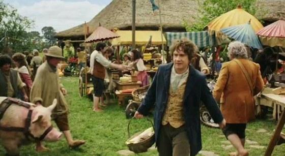 Záběry z filmu Hobbit: An Unexpected Journey - ruch Hobitína
