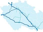 Trasa plynovodu Gazela (čárkovaně).