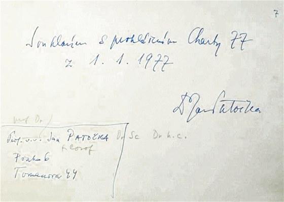 Podpis Jana Patočky pod Chartou 77