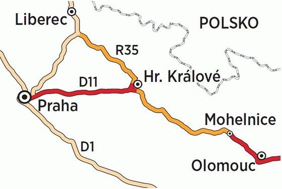 Rychlostní komunikace R35 z Liberce do Olomouce a její plánovaný úsek (na mapce