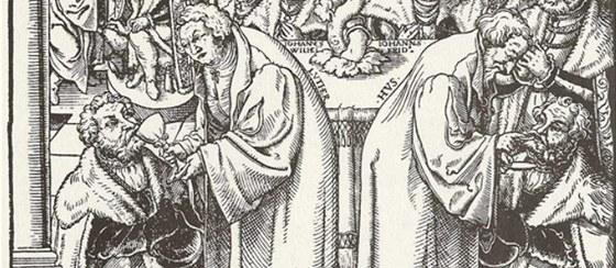 Saský mistr: Martin Luther a Jan Hus podávají pod obojí saským knížatům (3.