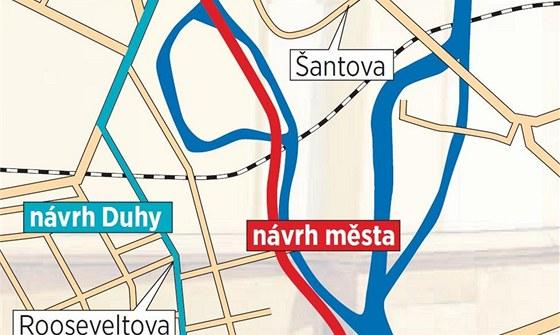 Zatímco radnicí schválená trasa nové tramvajové tratě vede podél řeky Moravy,