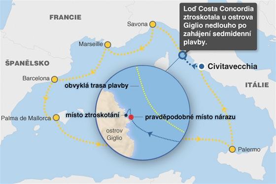 MAPKA: Ztroskotání Costa Concordia