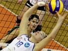 Ivona Svobodníková (v zeleném) z KP Brno v duelu s portugalským Ribeirense Pico.