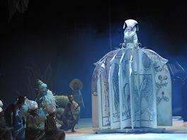 Alžběta Poláčková v roli Knihy na generální zkoušce opery Marka Ivanoviče