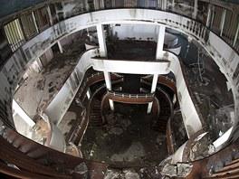 Zničené prostory módního domu Ostravica.