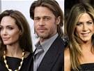 Angelina Jolie, Brad Pitt a Jennifer Anistonová