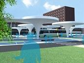 Vizualizace zamýšlené změny prostoru před pardubickým vlakovým nádražím