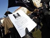Demonstrace svolaná Českou pirátskou stranou na pražský Klárov proti nedávnému