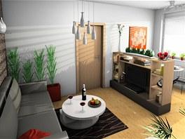 Prostor s pohovkou je od jídelní části oddělený nízkou nábytkovou sestavou s
