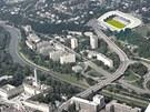 Rekonstruovaná podoba Bazalů, fotbalového stadionu Baníku Ostrava. V popředí