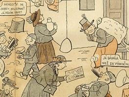 Josef Lada, Pražáci na aprovisaci, Kopřivy, 1917
