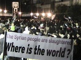 Protesty v syrsk�m m�st� Homs (10. �nora 2012)