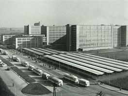 Pohled na areál Oděvního podniku Prostějov v šedesátých letech minulého...