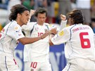 Marek Jankulovski a Milan Baro� se raduj� z g�lu v z�pase proti Loty�sku na...