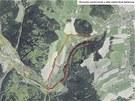 Letecký pohled na Nové Heřminovy, červeně jsou vyznačeny hranice plánované