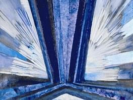 Část obrazu Františka Kupky Tvar modré z roku 1913. Celý se objeví po