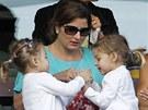 Rodina švýcarského tenisty Rogera Federera na turnaji v Indian Wells.