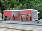 Tram caf� - n�vrh p�estavby funkcionalistick� zast�vky na Obiln�m trhu v Brn�.