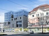 Proluku po zbouraném Německém domě na náměstí Dr. Edvarda Beneše v centru