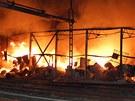 Požár skladu minerálních olejů v areálu pardubické chemičky Synthesia. (29.