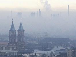 Tak vypadá centrum Ostravy pod smogovou poklicí.