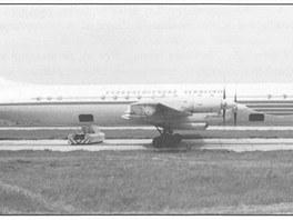 Letoun Iljušin Il-18 v barvách ČSA. Na snímku Il-18 s registrací OK-OAC.