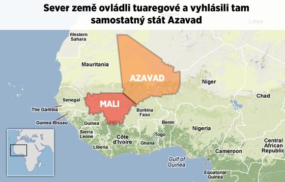 Mapa Mali. Sever zem� ovl�dli na ja�e 2012 islamist� spole�n� Tuaregy. Ti pak