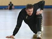 Petr Štochl na tréninku házenkářské reprezentace.