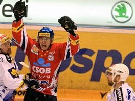 Pardubický Lukáš Radil se raduje z prvního gólu ve finálové sérii.
