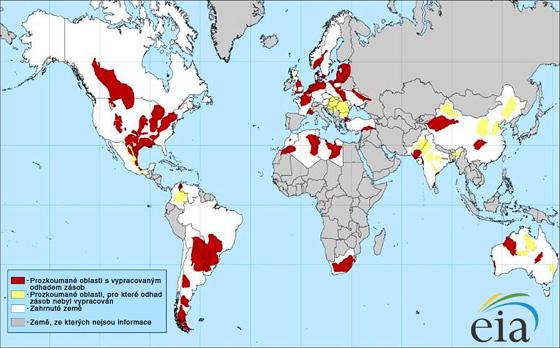 Rozložení potenciálně plynonosných břidlic po světě podle americké Energy