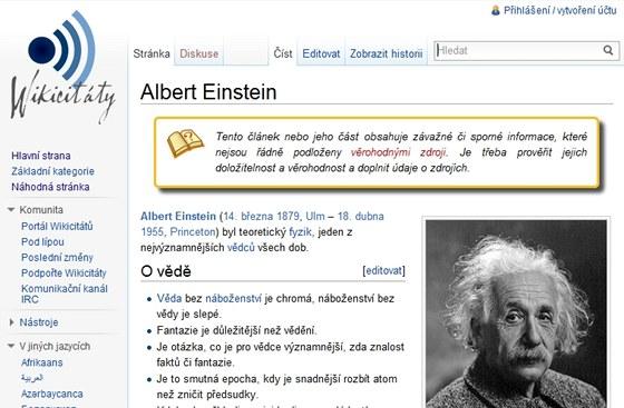 Podobně jako u Wikipedie se nelze ani vpřípadě služby Wikicitáty absolutně