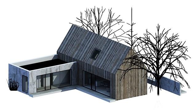 Vítězný návrh architektonické soutěže Současný český dům od studenta Tomáše