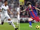 Dva bozi v akci. Cristiano Ronaldo v b�l�m, Lionel Messi v �erveno-modr�m.