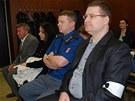 Obžalovaní (zprava) Tomáš Janošec, Alena Májičková a  Ivo Fojtík při zahájení