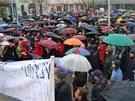 V Ostravě přišly na protestní akci Holešovské výzvy asi tři stovky lidí. (15.
