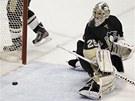 PUK M��� DO S�T�. Marc-Andre Fleury, brank�� hokejist� Pittsburghu, u� jen