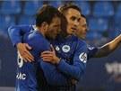 LIBERECKÁ RADOST. Fotbalisté Slovanu Liberec se radují ze vstřeleného gólu do