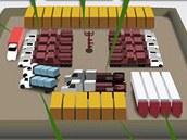 Schématický obrázek, který zachycuje množství materiálu a vybavení nutného pro