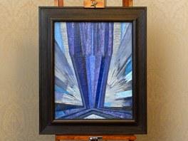 Abstraktn� obraz Franti�ka Kupky Tvar modr� z roku 1913