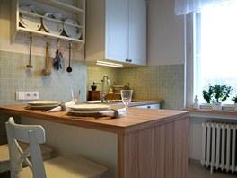 Kuchyňský ostrůvek nahrazuje i jídelní stůl.