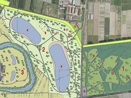 Plánek chystané rekreační a relaxační oblasti Holický les (pro zobrazení celé