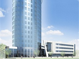 Vizualizace vzhledu výškové budovy na olomoucké třídě Kosmonautů po dokončení.