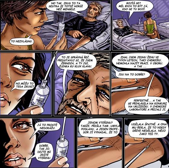 Komiksově ztvárněná ukázka ze hry Tahle postel je příliš krátká aneb Jen
