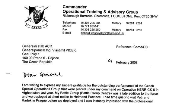 D�kovn� dopis Richarda Westleyho na Ministerstvo obrany �R