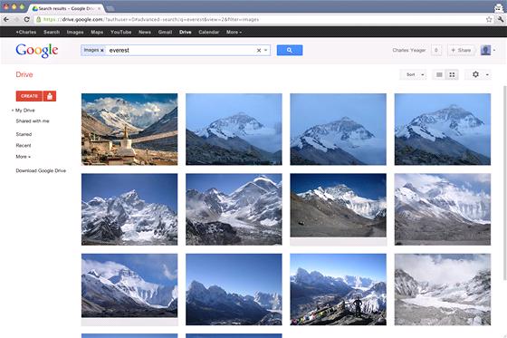 Google Drive - výsledky vyhledávání v souborech